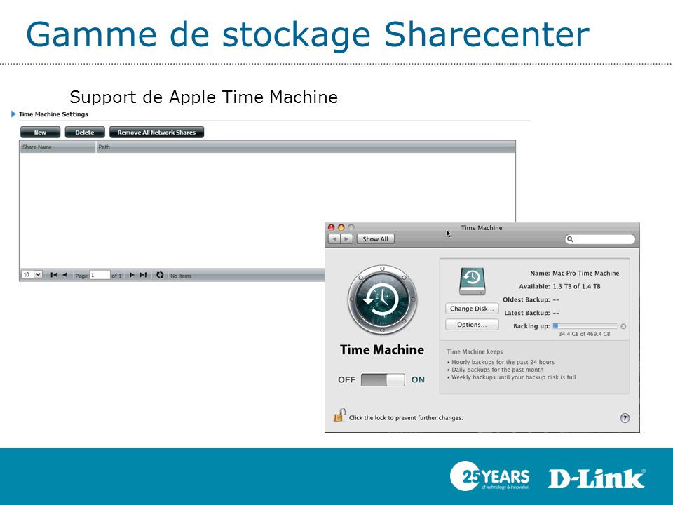 Gamme de stockage Sharecenter Support de Apple Time Machine