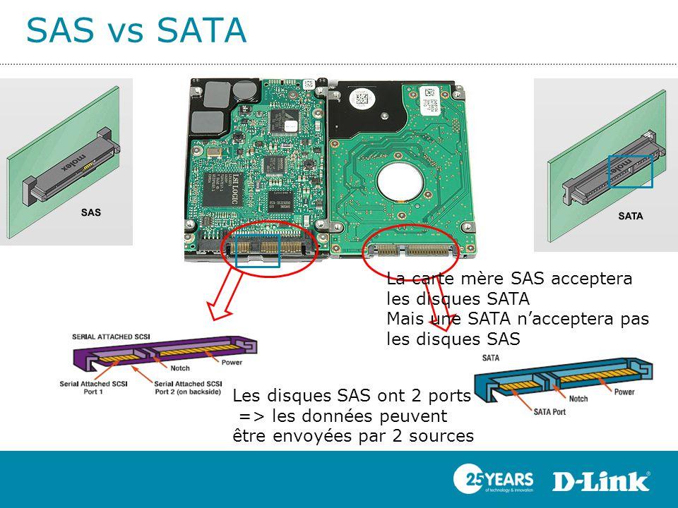 SAS vs SATA Les disques SAS ont 2 ports => les données peuvent être envoyées par 2 sources La carte mère SAS acceptera les disques SATA Mais une SATA