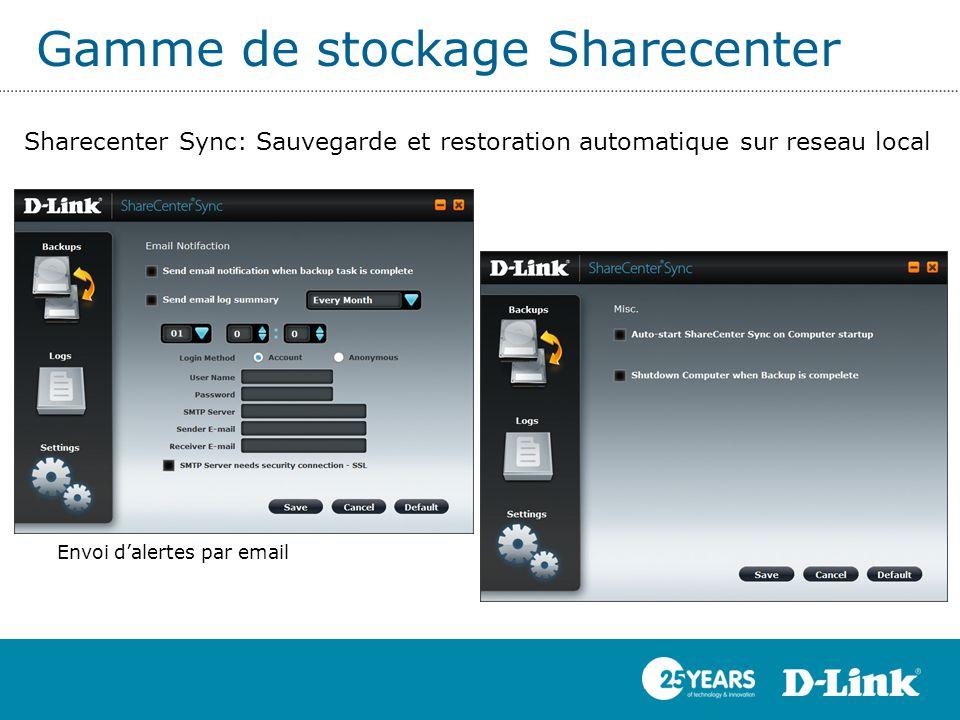 Gamme de stockage Sharecenter Sharecenter Sync: Sauvegarde et restoration automatique sur reseau local Envoi d'alertes par email