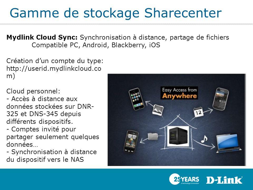 Gamme de stockage Sharecenter Mydlink Cloud Sync: Synchronisation à distance, partage de fichiers Compatible PC, Android, Blackberry, iOS Création d'u
