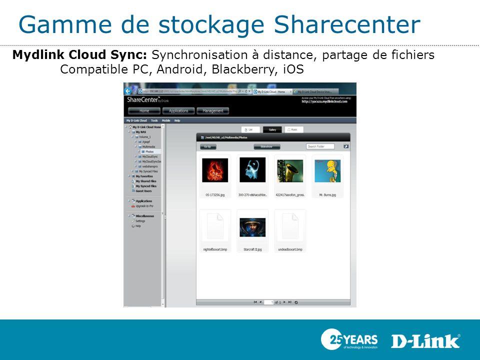Gamme de stockage Sharecenter Mydlink Cloud Sync: Synchronisation à distance, partage de fichiers Compatible PC, Android, Blackberry, iOS