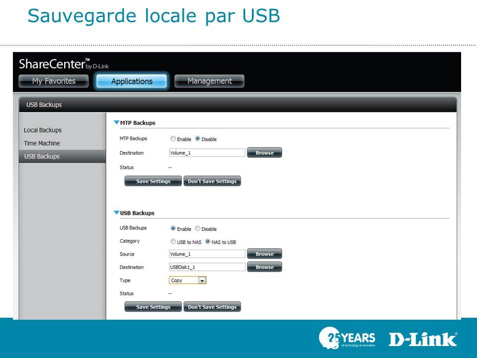 Sauvegarde locale par USB 45