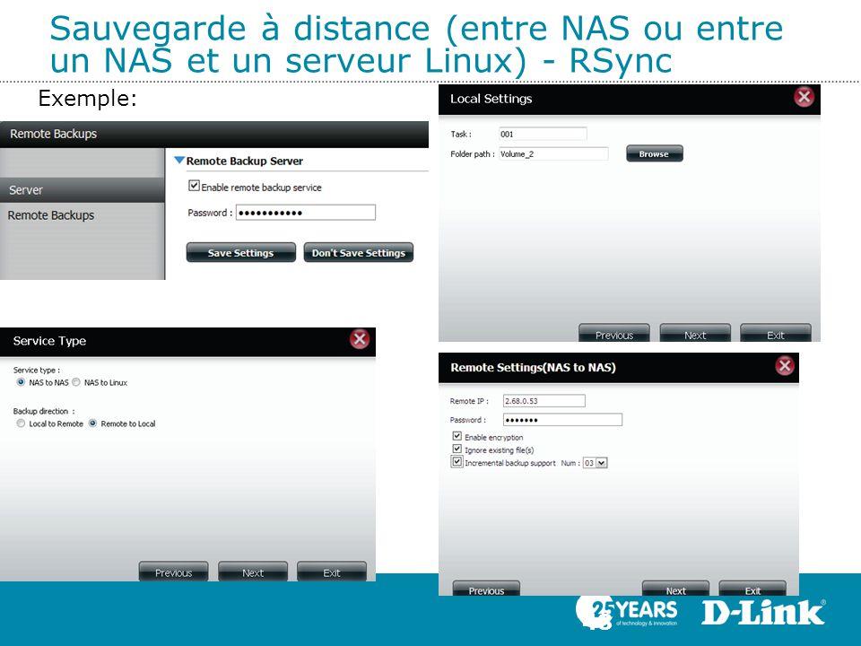 Sauvegarde à distance (entre NAS ou entre un NAS et un serveur Linux) - RSync 48 Exemple: