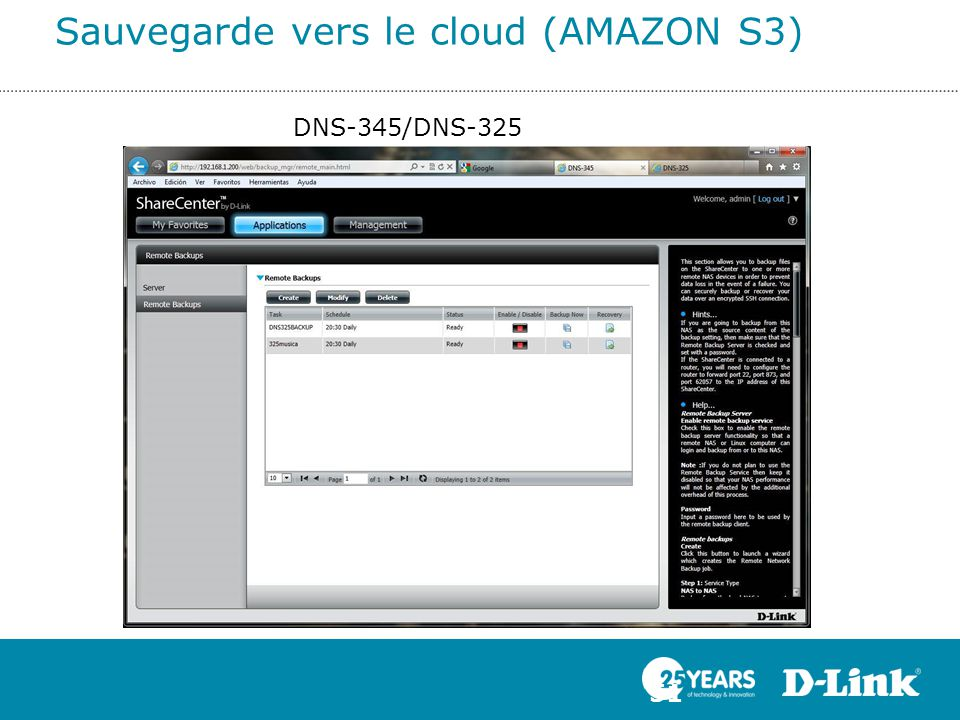 Sauvegarde vers le cloud (AMAZON S3) 51 DNS-345/DNS-325
