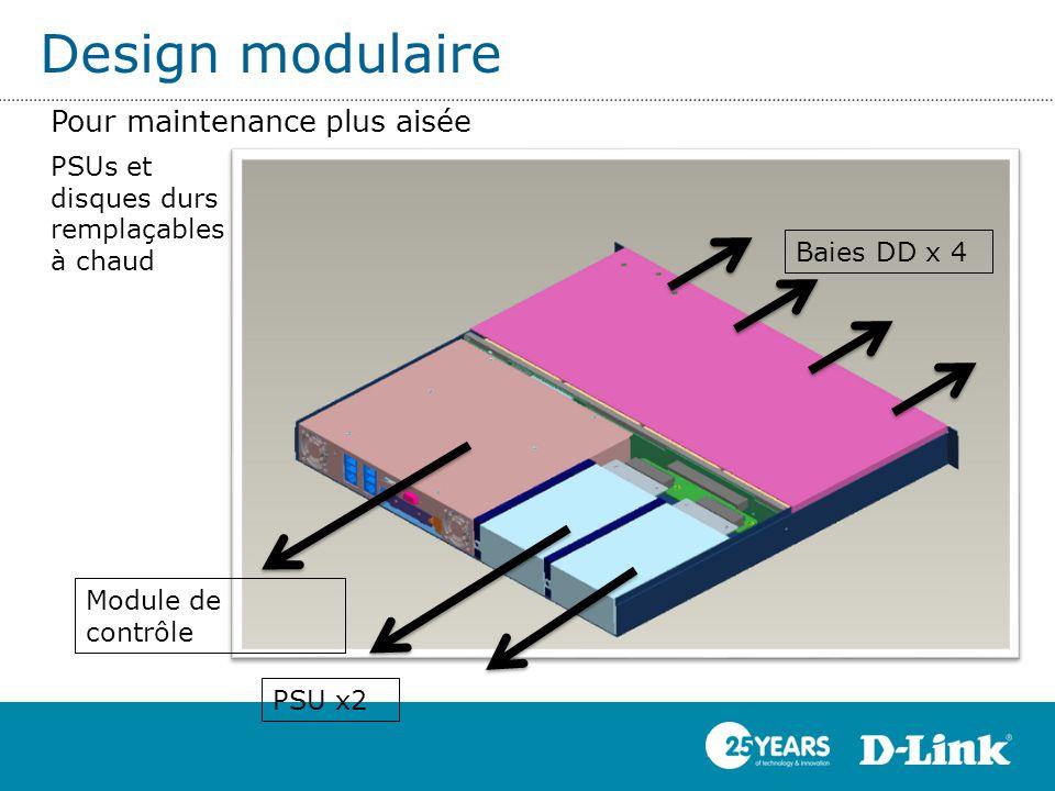 Module de contrôle PSU x2 Baies DD x 4 Pour maintenance plus aisée Design modulaire PSUs et disques durs remplaçables à chaud