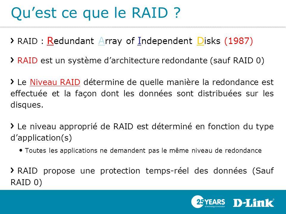 Qu'est ce que le RAID ? RAID : R edundant A rray of I ndependent D isks (1987) RAID est un système d'architecture redondante (sauf RAID 0) Le Niveau R