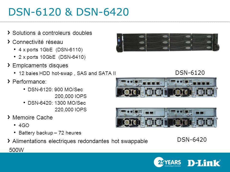DSN-6120 & DSN-6420 DSN-6120 DSN-6420 Solutions à controleurs doubles Connectivité réseau 4 x ports 1GbE (DSN-6110) 2 x ports 10GbE (DSN-6410) Emplcam