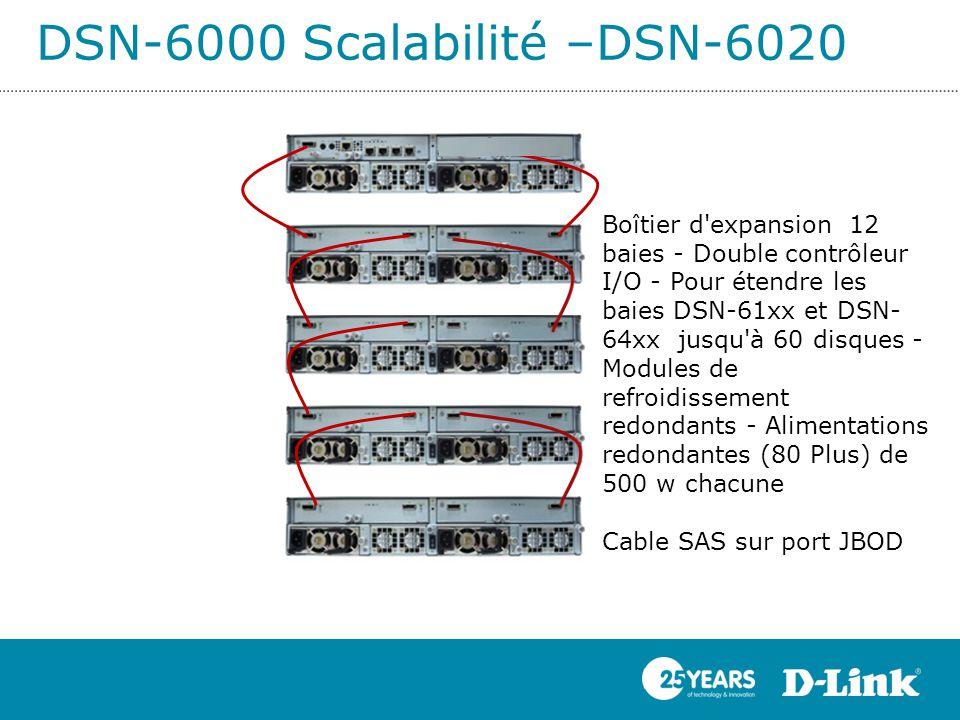DSN-6000 Scalabilité –DSN-6020 Boîtier d'expansion 12 baies - Double contrôleur I/O - Pour étendre les baies DSN-61xx et DSN- 64xx jusqu'à 60 disques