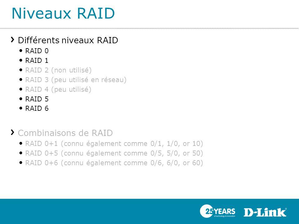 Niveaux RAID Différents niveaux RAID RAID 0 RAID 1 RAID 2 (non utilisé) RAID 3 (peu utilisé en réseau) RAID 4 (peu utilisé) RAID 5 RAID 6 Combinaisons