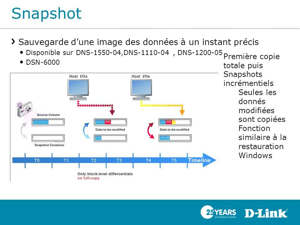 Snapshot Sauvegarde d'une image des données à un instant précis Disponible sur DNS-1550-04,DNS-1110-04, DNS-1200-05 DSN-6000 Première copie totale pui