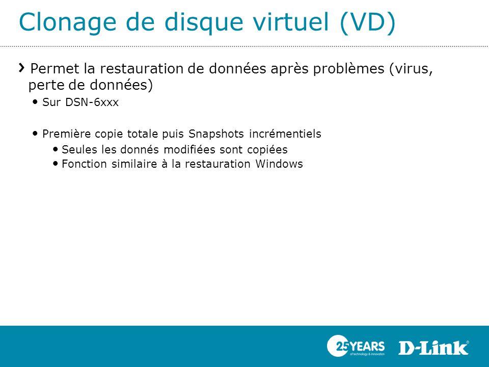 Clonage de disque virtuel (VD) Permet la restauration de données après problèmes (virus, perte de données) Sur DSN-6xxx Première copie totale puis Sna