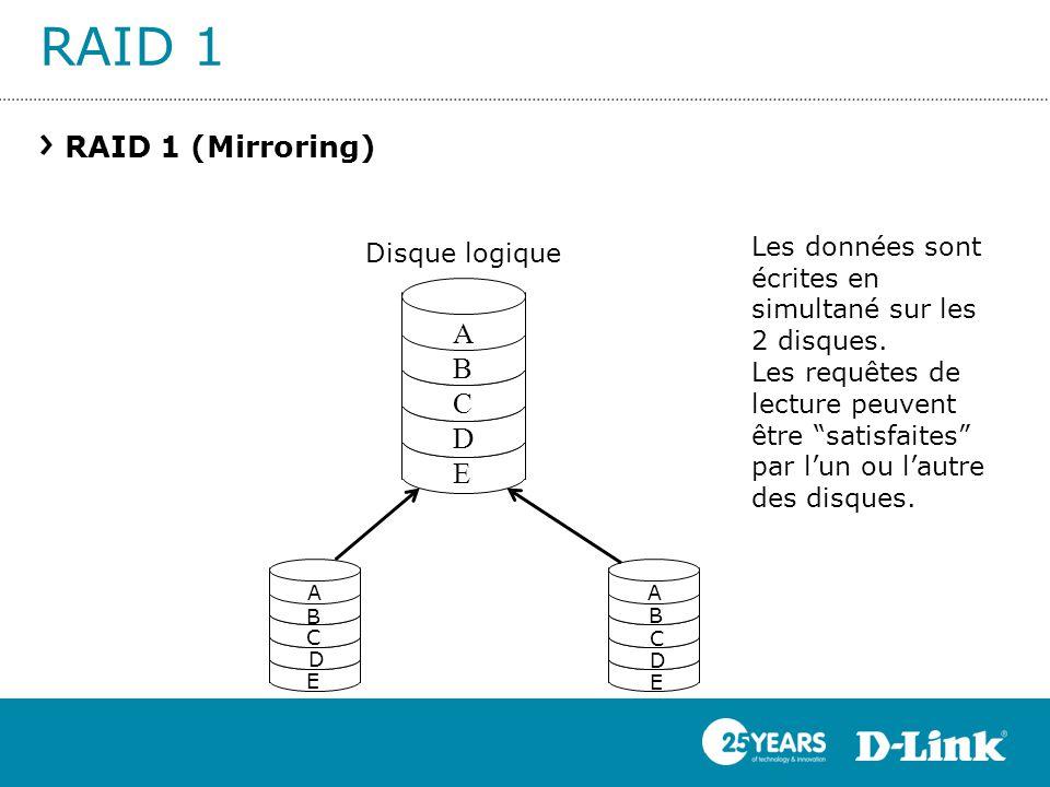 RAID 1 RAID 1 (Mirroring) ABCDEABCDE D E A A E D B C C B Les données sont écrites en simultané sur les 2 disques. Les requêtes de lecture peuvent être