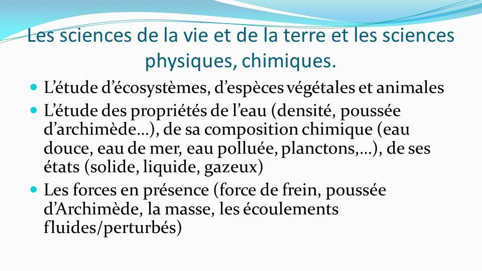 Les sciences de la vie et de la terre et les sciences physiques, chimiques. L'étude d'écosystèmes, d'espèces végétales et animales L'étude des proprié