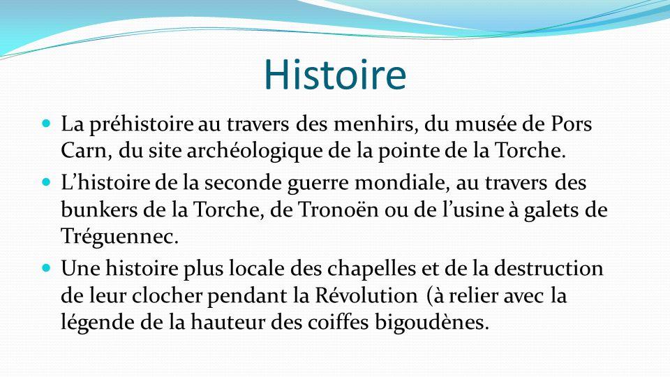 Histoire La préhistoire au travers des menhirs, du musée de Pors Carn, du site archéologique de la pointe de la Torche. L'histoire de la seconde guerr