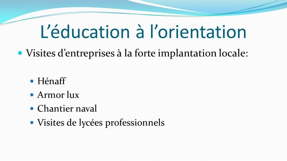 L'éducation à l'orientation Visites d'entreprises à la forte implantation locale: Hénaff Armor lux Chantier naval Visites de lycées professionnels