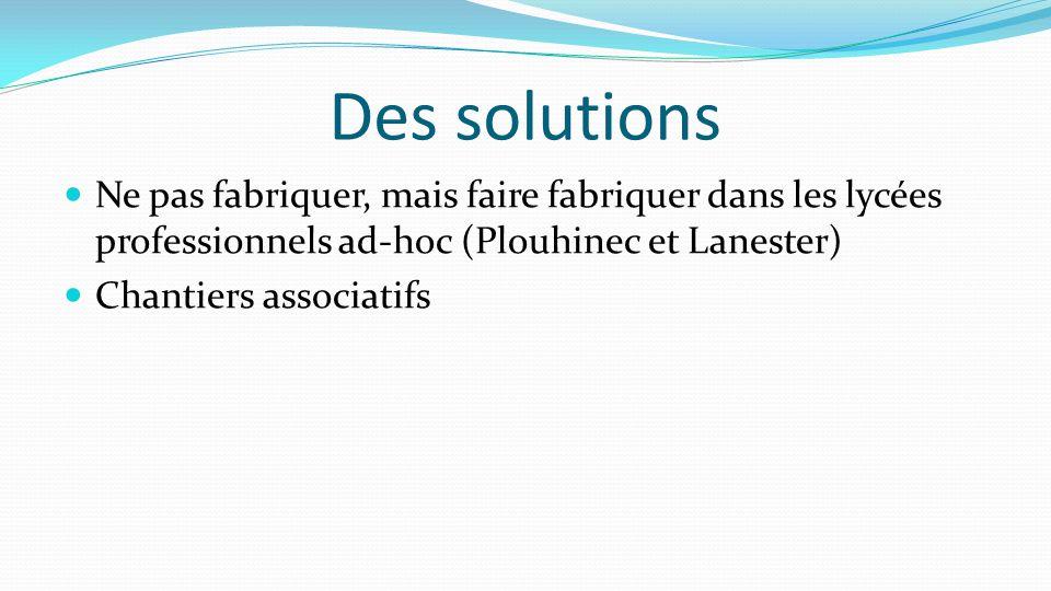 Des solutions Ne pas fabriquer, mais faire fabriquer dans les lycées professionnels ad-hoc (Plouhinec et Lanester) Chantiers associatifs