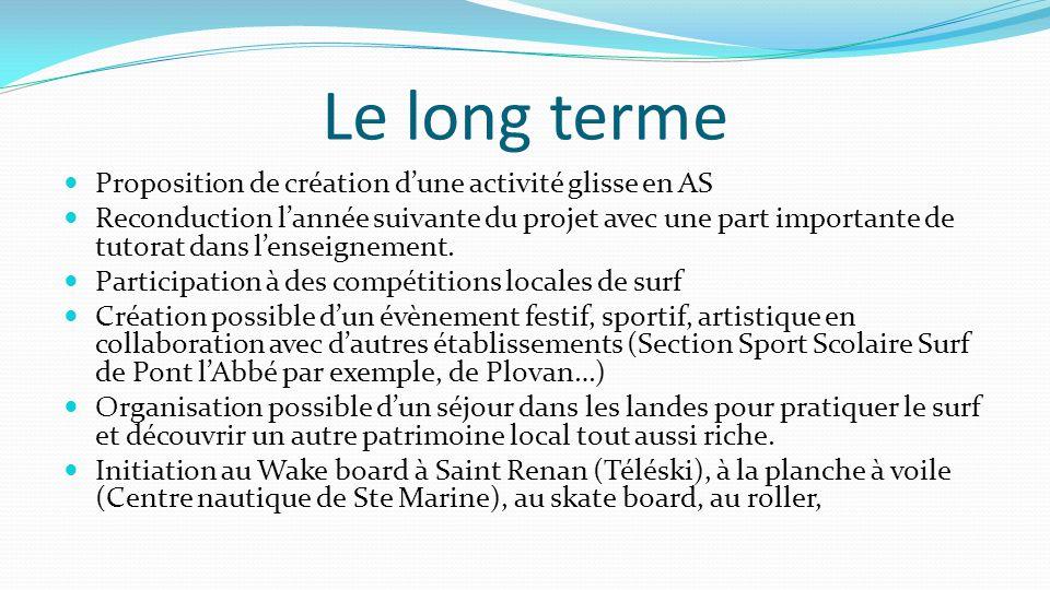 Le long terme Proposition de création d'une activité glisse en AS Reconduction l'année suivante du projet avec une part importante de tutorat dans l'e