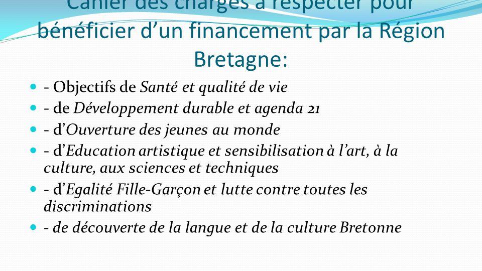 Cahier des charges à respecter pour bénéficier d'un financement par la Région Bretagne: - Objectifs de Santé et qualité de vie - de Développement dura