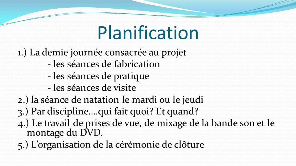 Planification 1.) La demie journée consacrée au projet - les séances de fabrication - les séances de pratique - les séances de visite 2.) la séance de