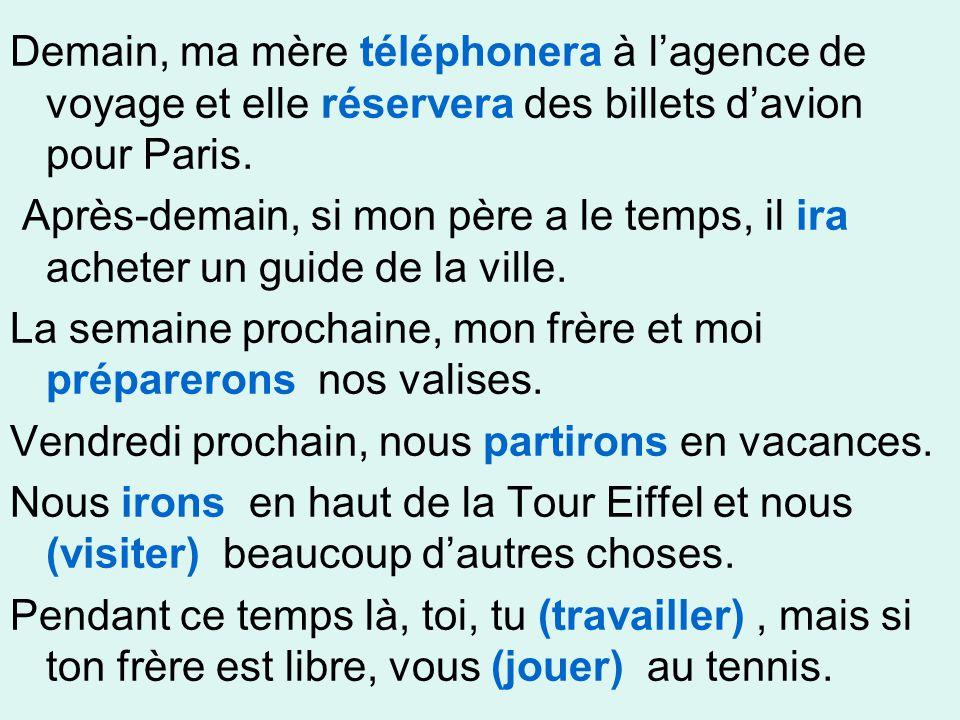 Demain, ma mère téléphonera à l'agence de voyage et elle réservera des billets d'avion pour Paris. Après-demain, si mon père a le temps, il ira achete
