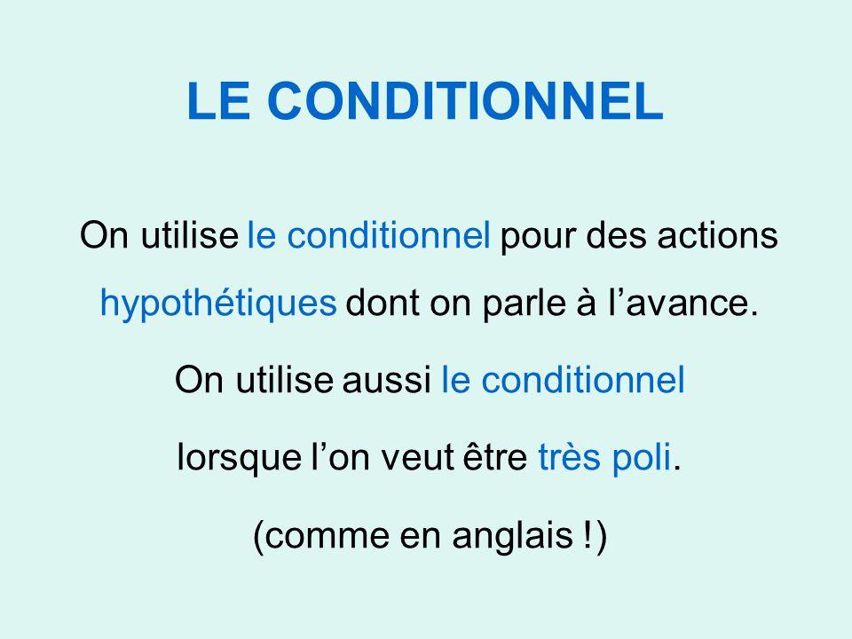 LE CONDITIONNEL On utilise le conditionnel pour des actions hypothétiques dont on parle à l'avance. On utilise aussi le conditionnel lorsque l'on veut