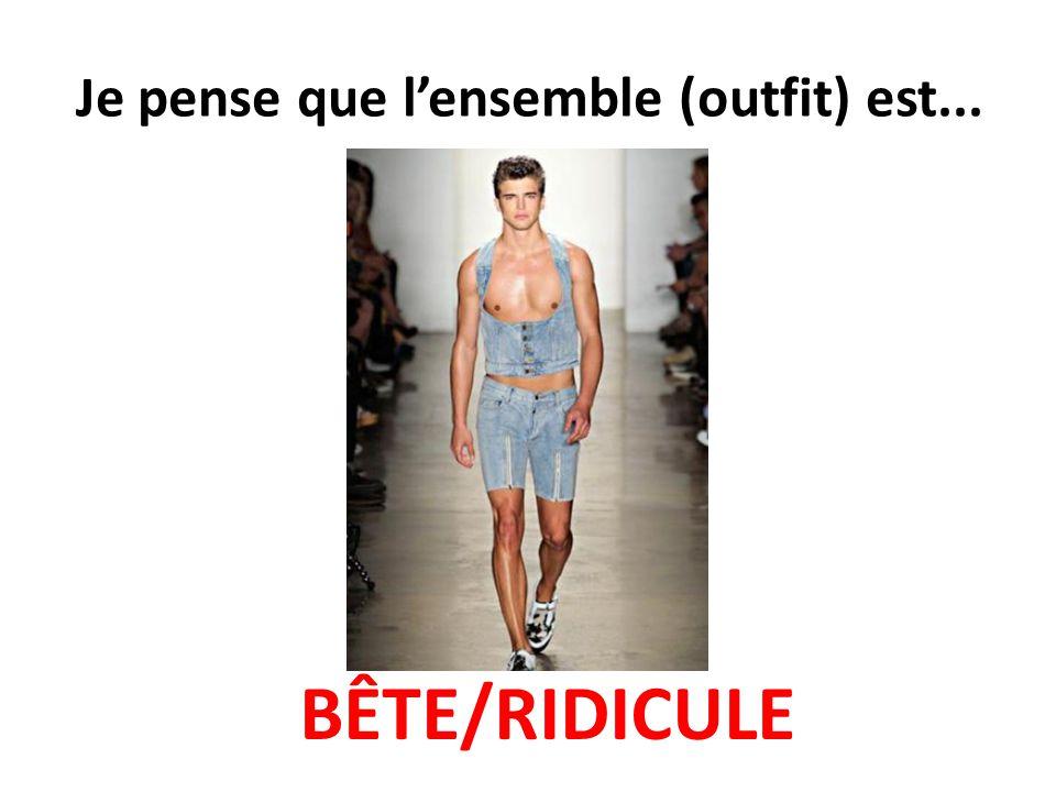 Je pense que l'ensemble (outfit) est... BÊTE/RIDICULE