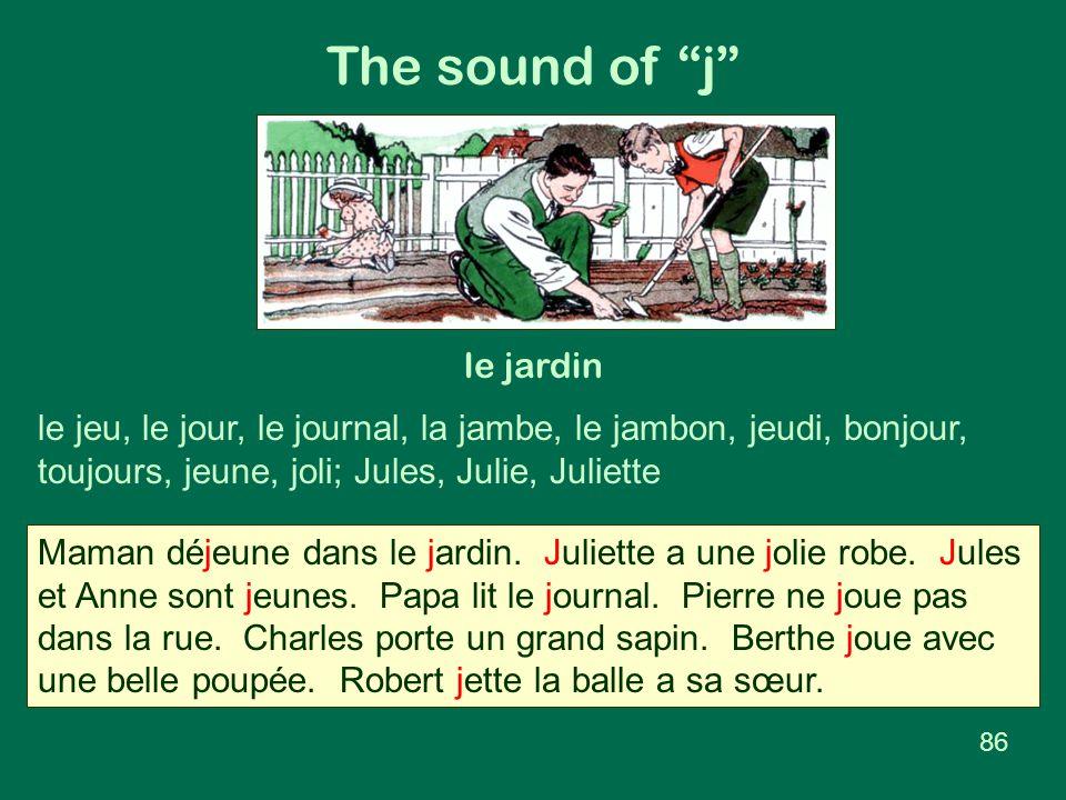 """The sound of """"j"""" le jardin le jeu, le jour, le journal, la jambe, le jambon, jeudi, bonjour, toujours, jeune, joli; Jules, Julie, Juliette Maman déjeu"""