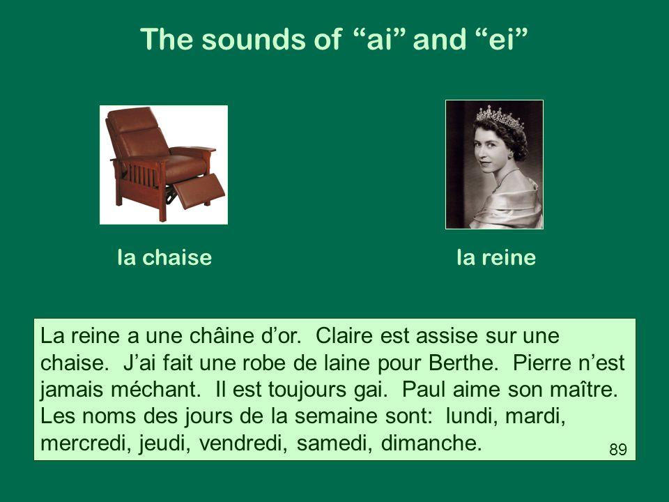 La reine a une châine d'or. Claire est assise sur une chaise. J'ai fait une robe de laine pour Berthe. Pierre n'est jamais méchant. Il est toujours ga