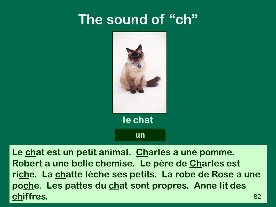 Le chat est un petit animal. Charles a une pomme. Robert a une belle chemise. Le père de Charles est riche. La chatte lèche ses petits. La robe de Ros