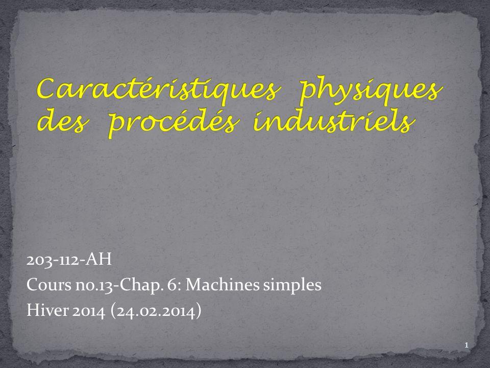 203-112-AH Cours no.13-Chap. 6: Machines simples Hiver 2014 (24.02.2014) 1