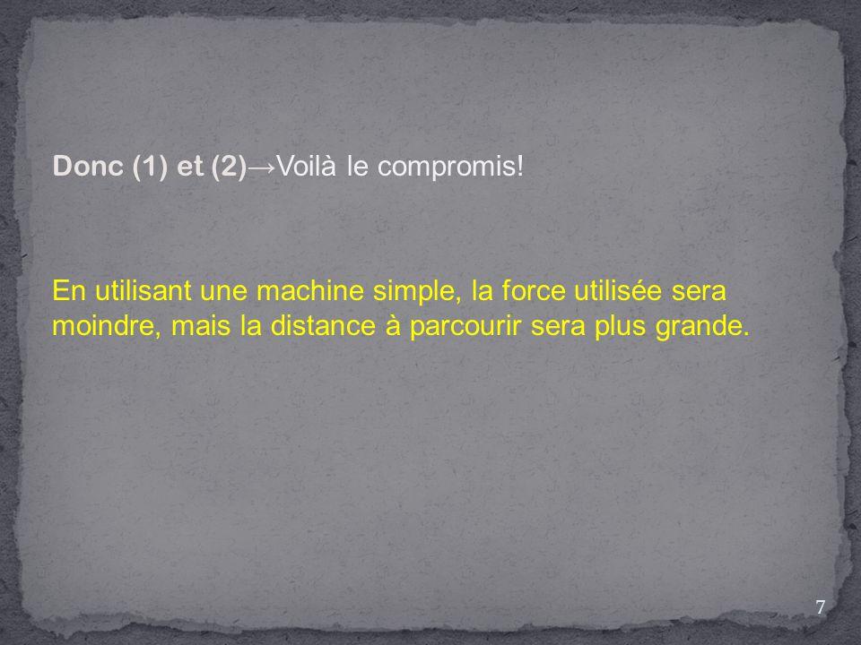 Donc (1) et (2) →Voilà le compromis! En utilisant une machine simple, la force utilisée sera moindre, mais la distance à parcourir sera plus grande. 7