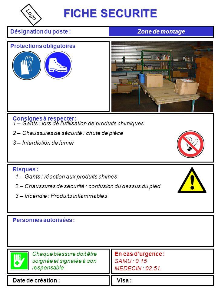FICHE SECURITE Désignation du poste : Protections obligatoires Consignes à respecter : 3 – Masque chimique Risques : 1 – Gants : brûlures chimiques 2 – Bottes : coulure de produit à l'intérieur des bottes 3 – Masque : contamination par voies respiratoires Personnes autorisées : Chaque blessure doit être soignée et signalée à son responsable En cas d'urgence : SAMU : 0 15 MEDECIN : 02.51.