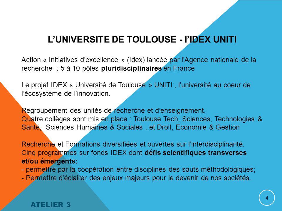 4 L'UNIVERSITE DE TOULOUSE - l'IDEX UNITI Action « Initiatives d'excellence » (Idex) lancée par l'Agence nationale de la recherche : 5 à 10 pôles pluridisciplinaires en France Le projet IDEX « Université de Toulouse » UNITI, l'université au coeur de l'écosystème de l'innovation.