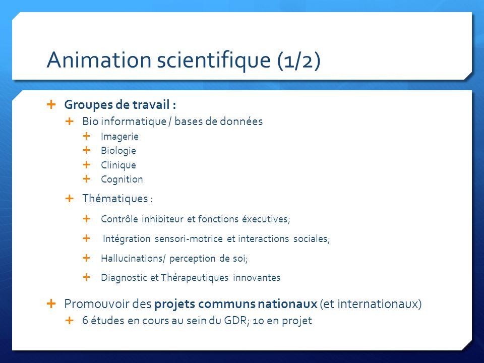 Animation scientifique (1/2)  Groupes de travail :  Bio informatique / bases de données  Imagerie  Biologie  Clinique  Cognition  Thématiques :