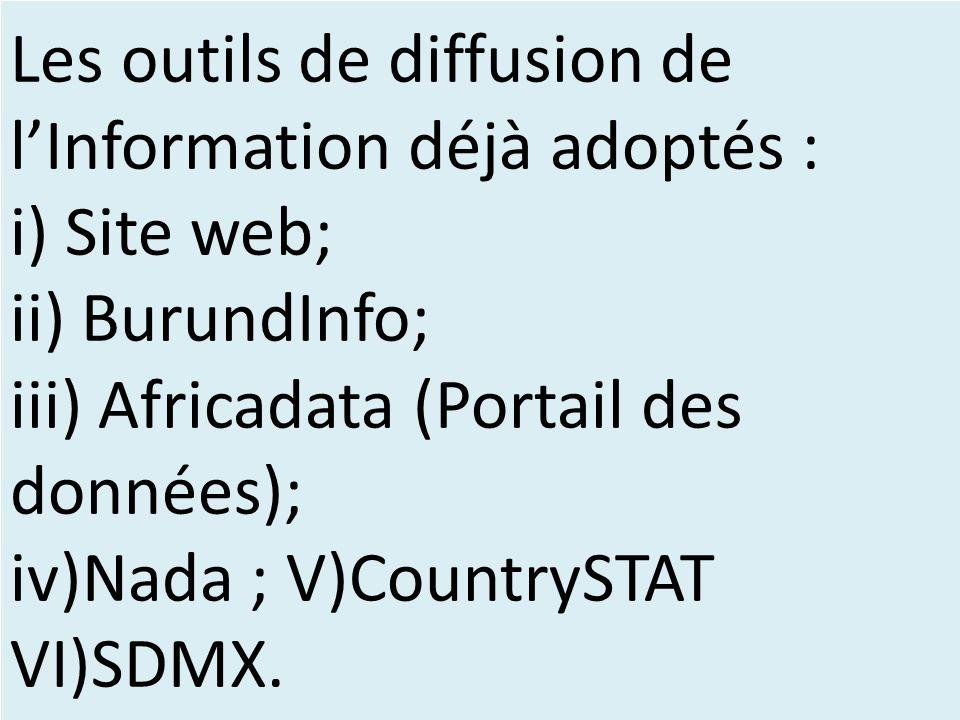 Les outils de diffusion de l'Information déjà adoptés : i) Site web; ii) BurundInfo; iii) Africadata (Portail des données); iv)Nada ; V)CountrySTAT VI)SDMX.