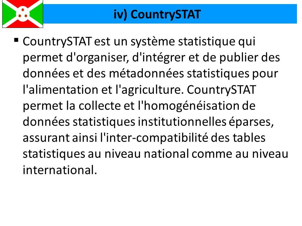  CountrySTAT est un système statistique qui permet d organiser, d intégrer et de publier des données et des métadonnées statistiques pour l alimentation et l agriculture.