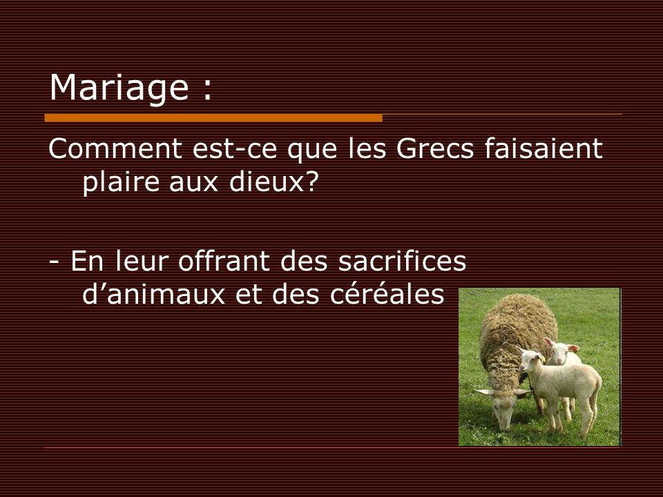 Mariage : Comment est-ce que les Grecs faisaient plaire aux dieux? - En leur offrant des sacrifices d'animaux et des céréales