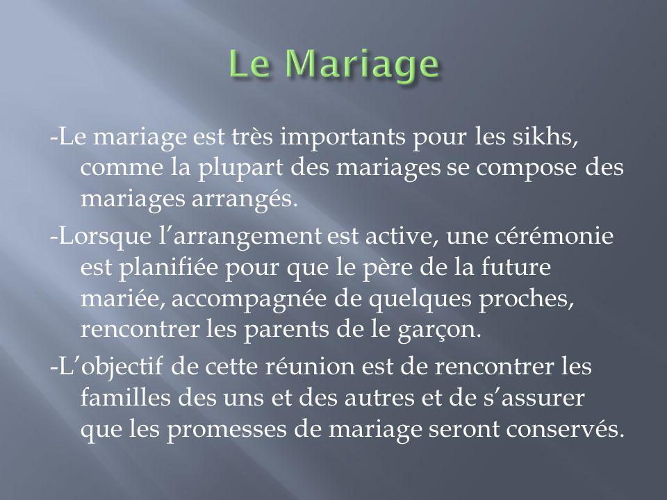 -Le mariage est très importants pour les sikhs, comme la plupart des mariages se compose des mariages arrangés. -Lorsque l'arrangement est active, une