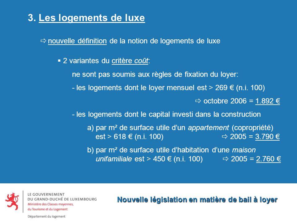 Nouvelle législation en matière de bail à loyer 3.