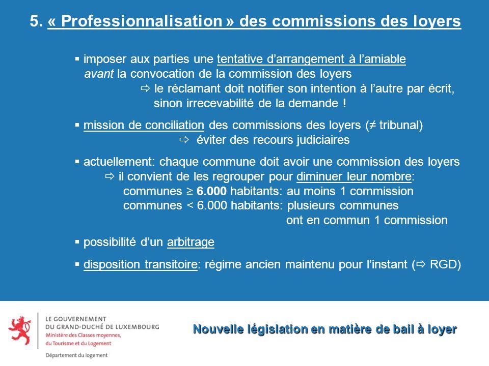 Nouvelle législation en matière de bail à loyer 5.