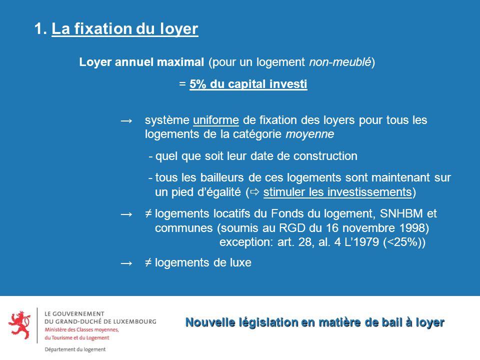 Nouvelle législation en matière de bail à loyer 1.