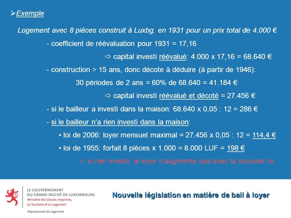 Nouvelle législation en matière de bail à loyer  Exemple Logement avec 8 pièces construit à Luxbg.