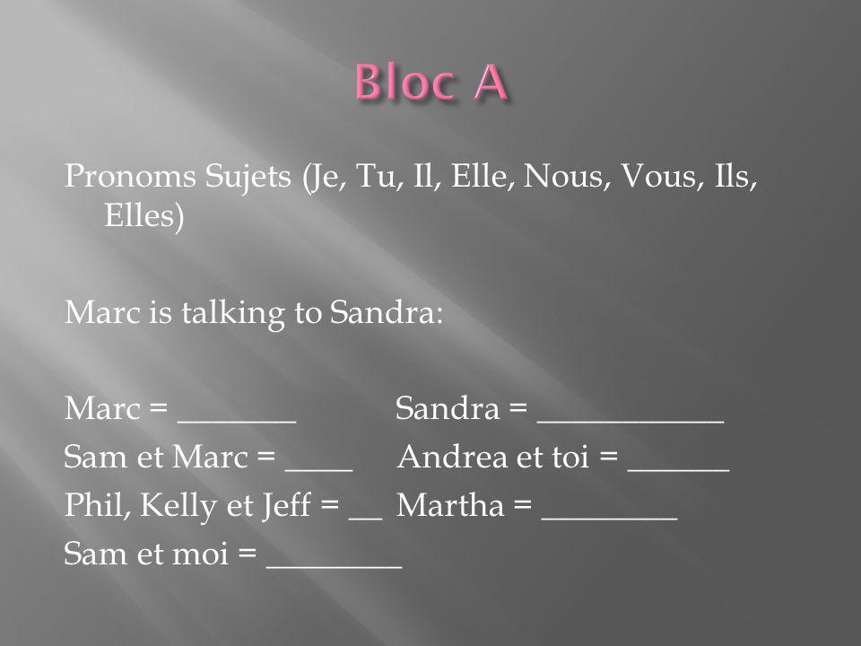 Pronoms Sujets (Je, Tu, Il, Elle, Nous, Vous, Ils, Elles) Marc is talking to Sandra: Marc = _______Sandra = ___________ Sam et Marc = ____Andrea et to