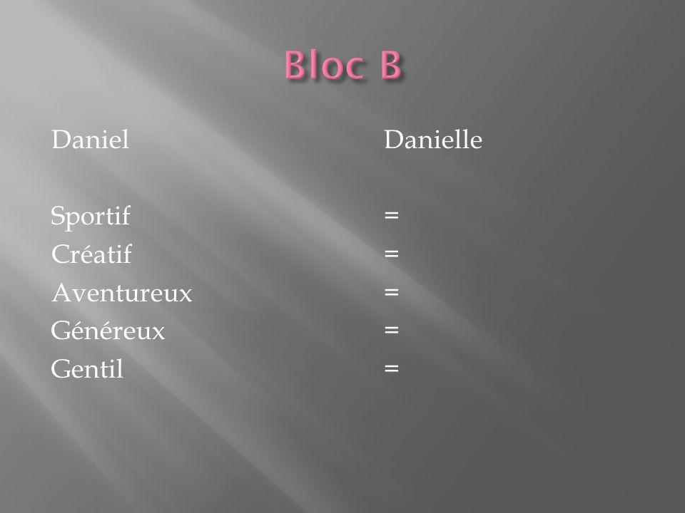DanielDanielle Sportif= Créatif= Aventureux= Généreux= Gentil=