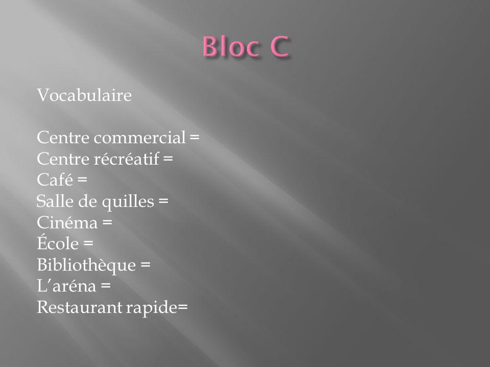 Vocabulaire Centre commercial = Centre récréatif = Café = Salle de quilles = Cinéma = École = Bibliothèque = L'aréna = Restaurant rapide=