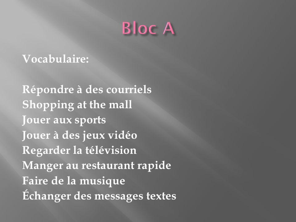 Vocabulaire: Répondre à des courriels Shopping at the mall Jouer aux sports Jouer à des jeux vidéo Regarder la télévision Manger au restaurant rapide