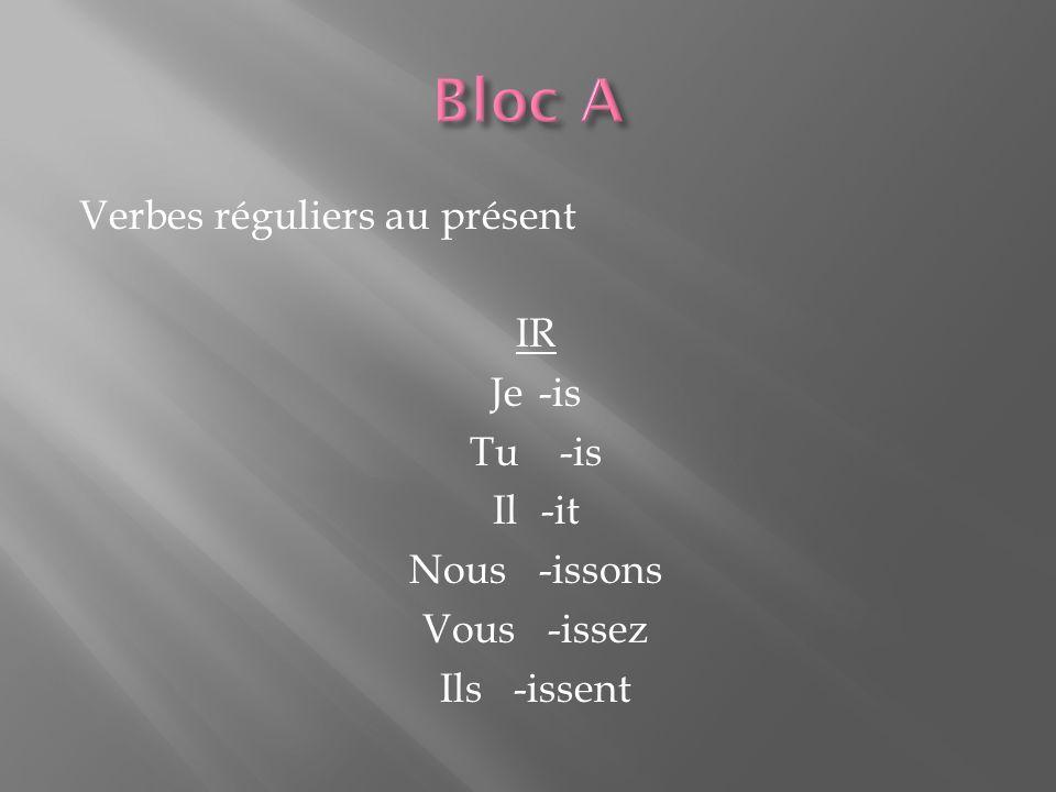 Verbes réguliers au présent IR Je -is Tu -is Il -it Nous -issons Vous -issez Ils -issent
