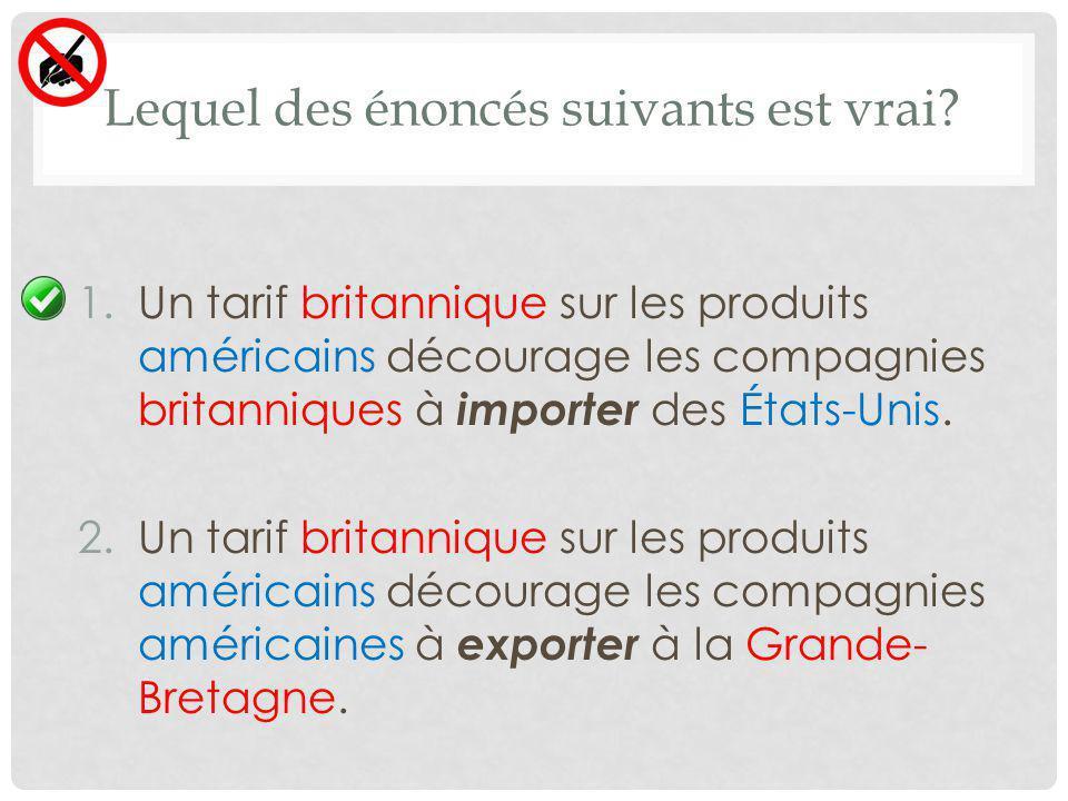 Lequel des énoncés suivants est vrai? 1.Un tarif britannique sur les produits américains décourage les compagnies britanniques à importer des États-Un