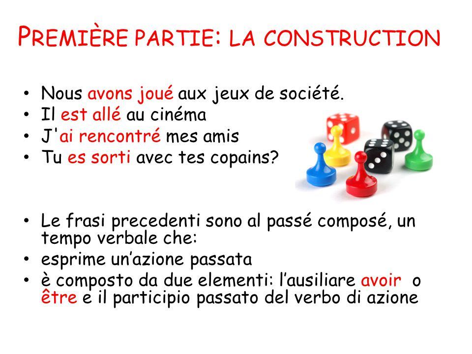 P REMIÈRE PARTIE : LA CONSTRUCTION Nous avons joué aux jeux de société.