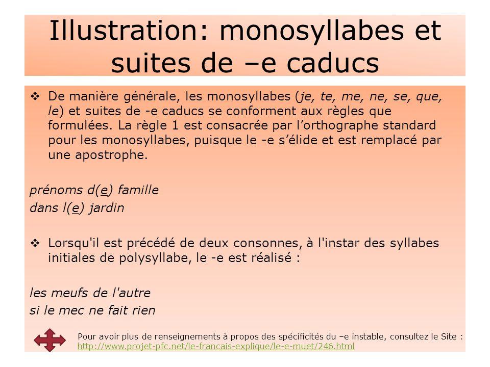 Illustration: monosyllabes et suites de –e caducs  De manière générale, les monosyllabes (je, te, me, ne, se, que, le) et suites de -e caducs se conforment aux règles que formulées.